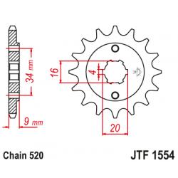 Предно зъбчато колело (пиньон) JTF1554,13