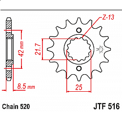 Предно зъбчато колело (пиньон) JTF516,14
