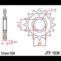 Предно зъбчато колело (пиньон) JTF1536,16