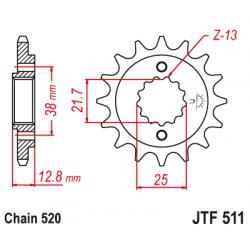 Предно зъбчато колело (пиньон) JTF511,16