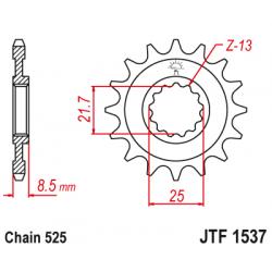 Предно зъбчато колело (пиньон) с успокоител за вибрации JTF1537,15RB