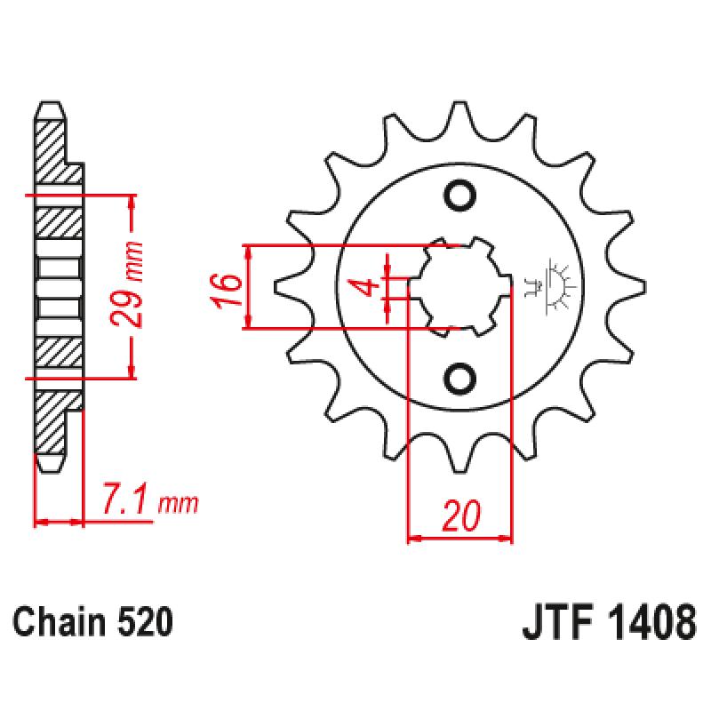 Предно зъбчато колело (пиньон) JTF1408,15