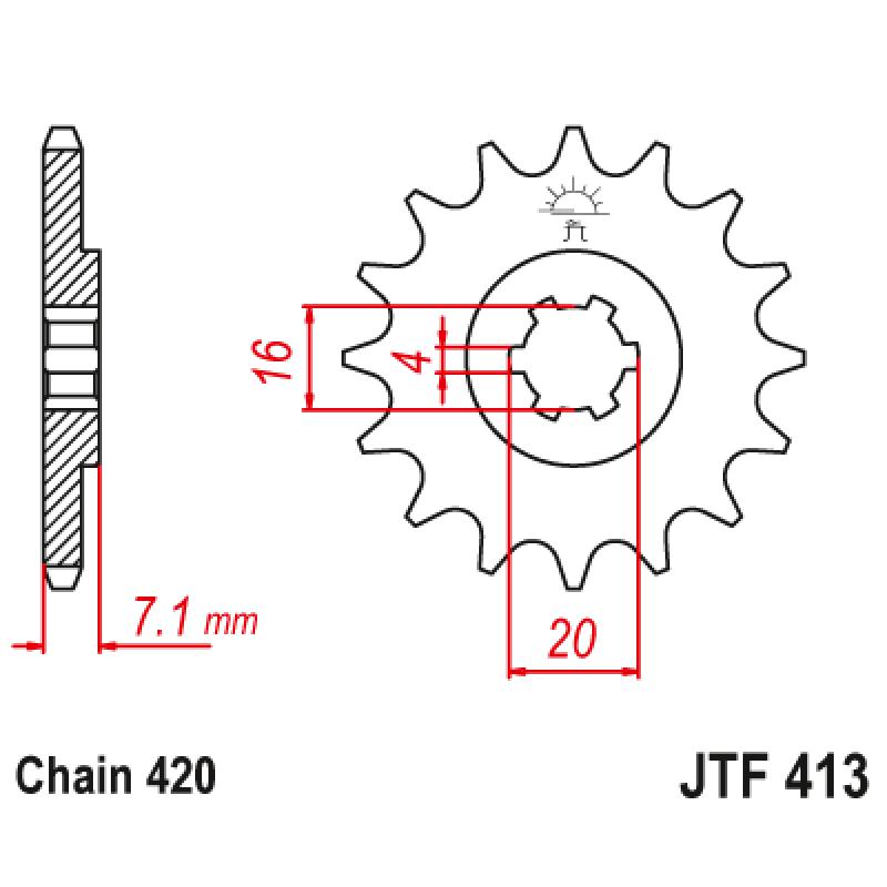 Предно зъбчато колело (пиньон) JTF413,16