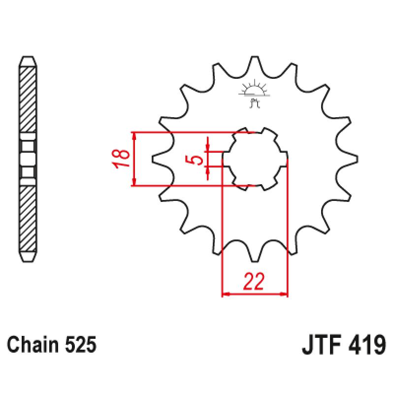 Предно зъбчато колело (пиньон) JTF419,14