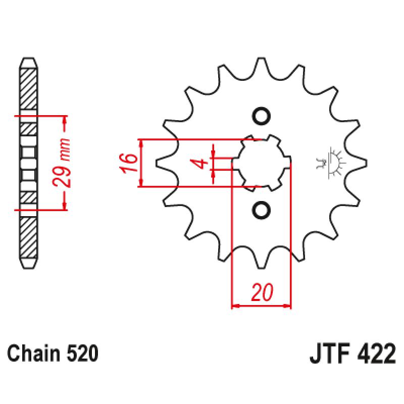 Предно зъбчато колело (пиньон) JTF422,13