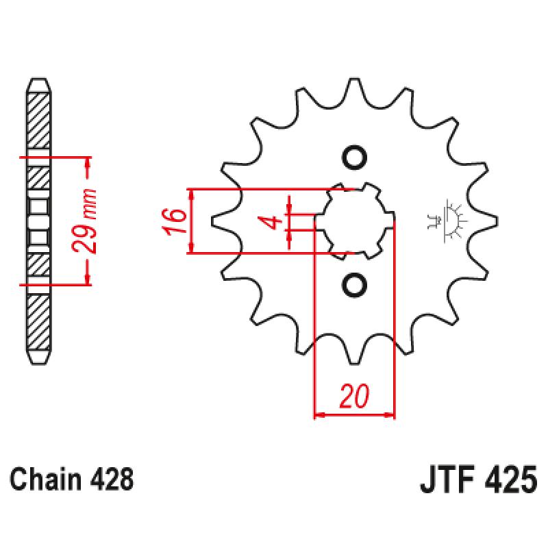Предно зъбчато колело (пиньон) JTF425,15
