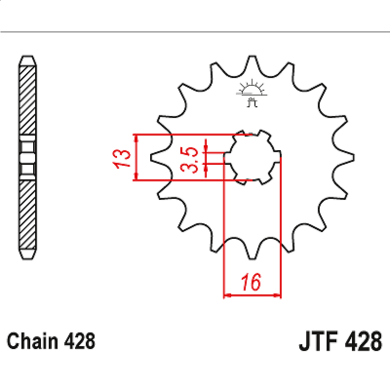Предно зъбчато колело (пиньон) JTF428,16