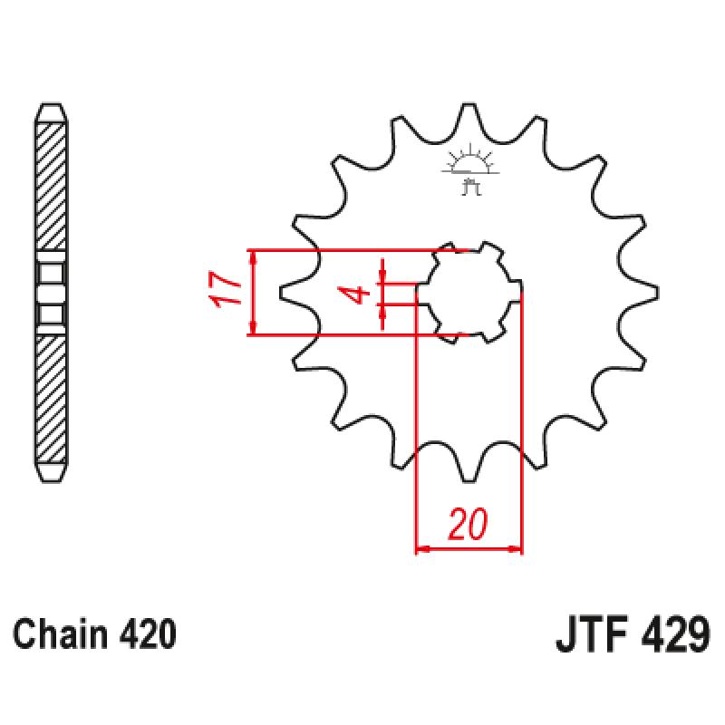 Предно зъбчато колело (пиньон) JTF429,14