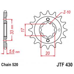 Предно зъбчато колело (пиньон) JTF430,12
