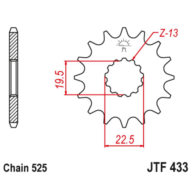 Предно зъбчато колело (пиньон) JTF433,16