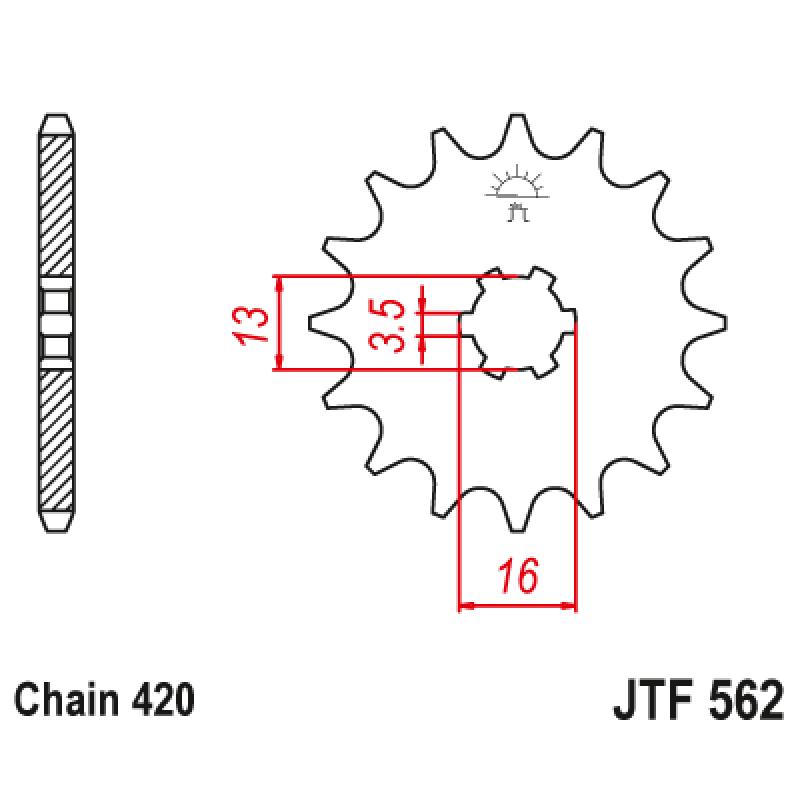 Предно зъбчато колело (пиньон) JTF562,10