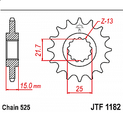 Предно зъбчато колело (пиньон) JTF1182,15