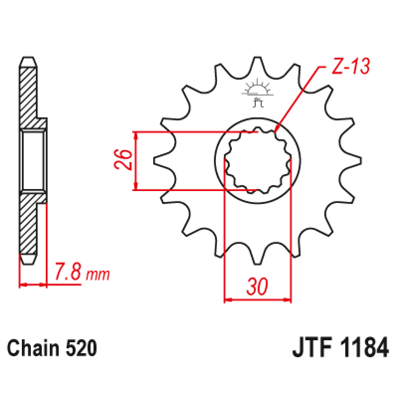 Предно зъбчато колело (пиньон) JTF1184,18