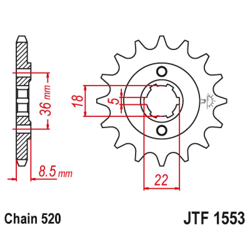 Предно зъбчато колело (пиньон) JTF1553,15
