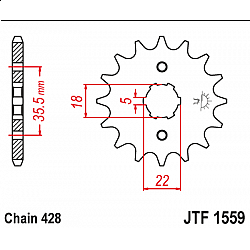 Предно зъбчато колело (пиньон) JTF1559,14
