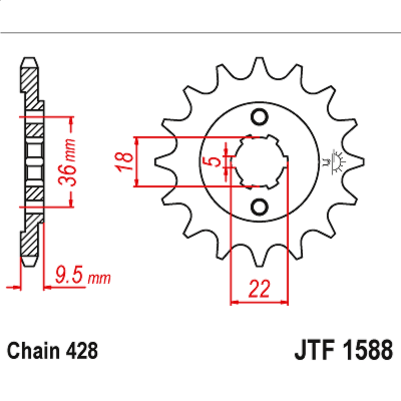 Предно зъбчато колело (пиньон) JTF1588,19