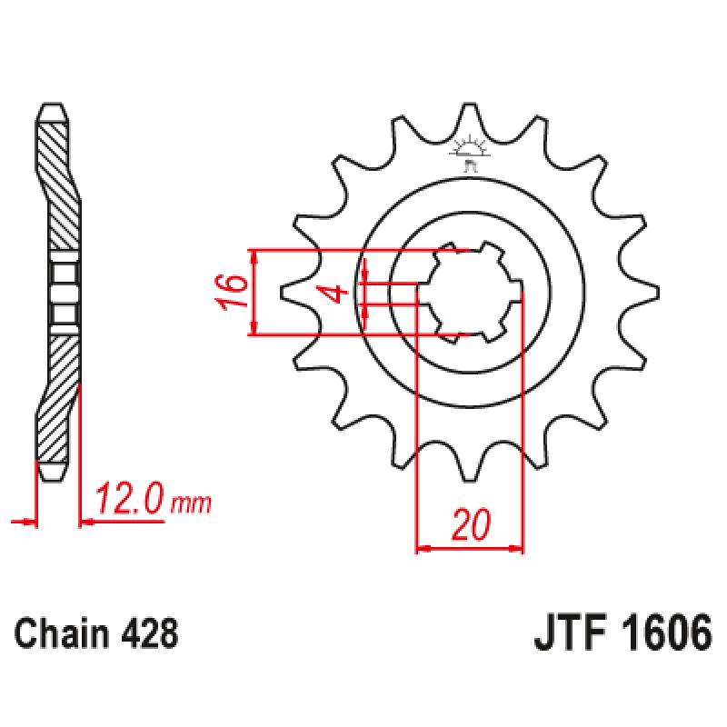 Предно зъбчато колело (пиньон) JTF1606,14