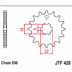 Предно зъбчато колело (пиньон) JTF420,15