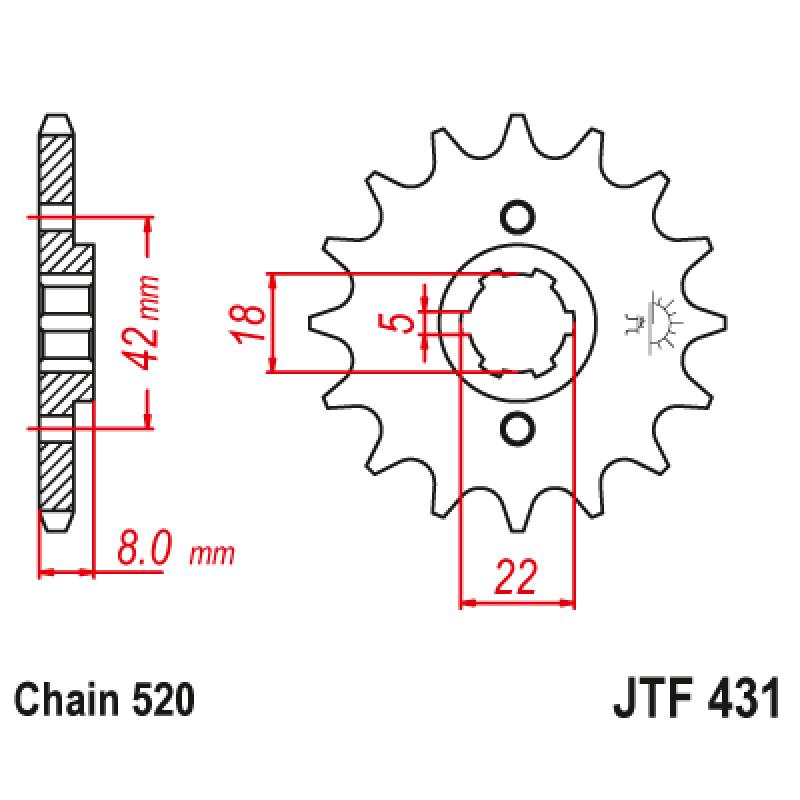 Предно зъбчато колело (пиньон) JTF431,13