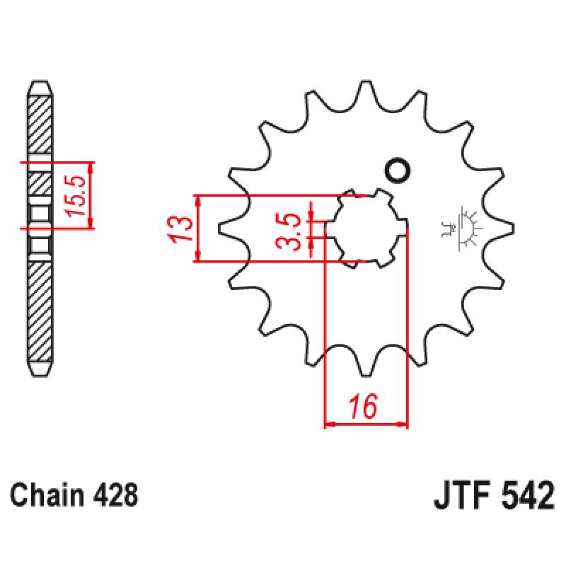 Предно зъбчато колело (пиньон) JTF542,10