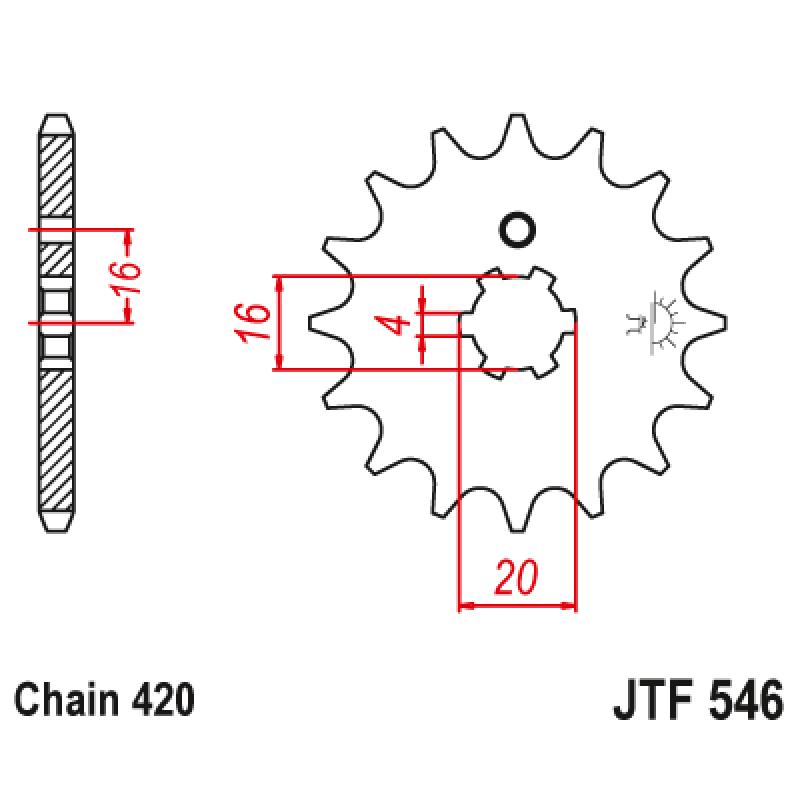 Предно зъбчато колело (пиньон) JTF546,13