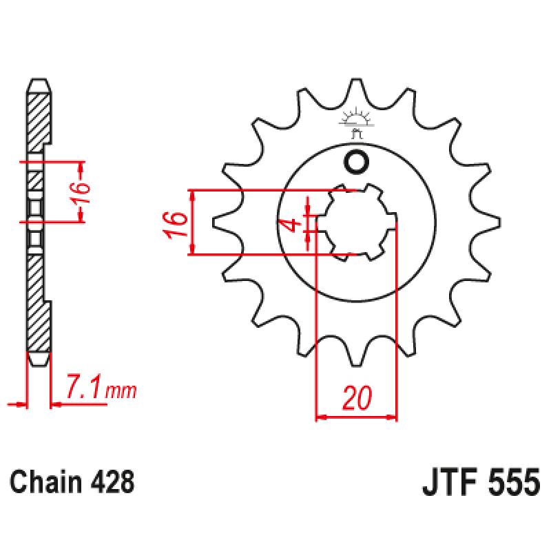 Предно зъбчато колело (пиньон) JTF555,14
