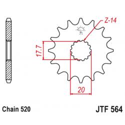 Предно зъбчато колело (пиньон) JTF564,12