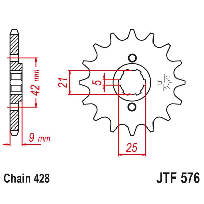 Предно зъбчато колело (пиньон) JTF576,17