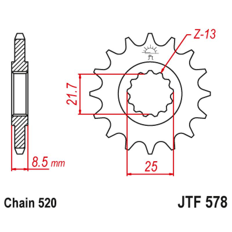 Предно зъбчато колело (пиньон) JTF578,17