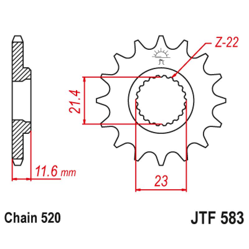 Предно зъбчато колело (пиньон) JTF583,14