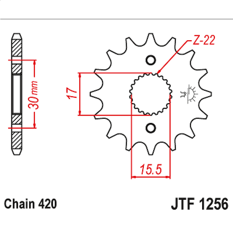 Предно зъбчато колело (пиньон) JTF1256,16