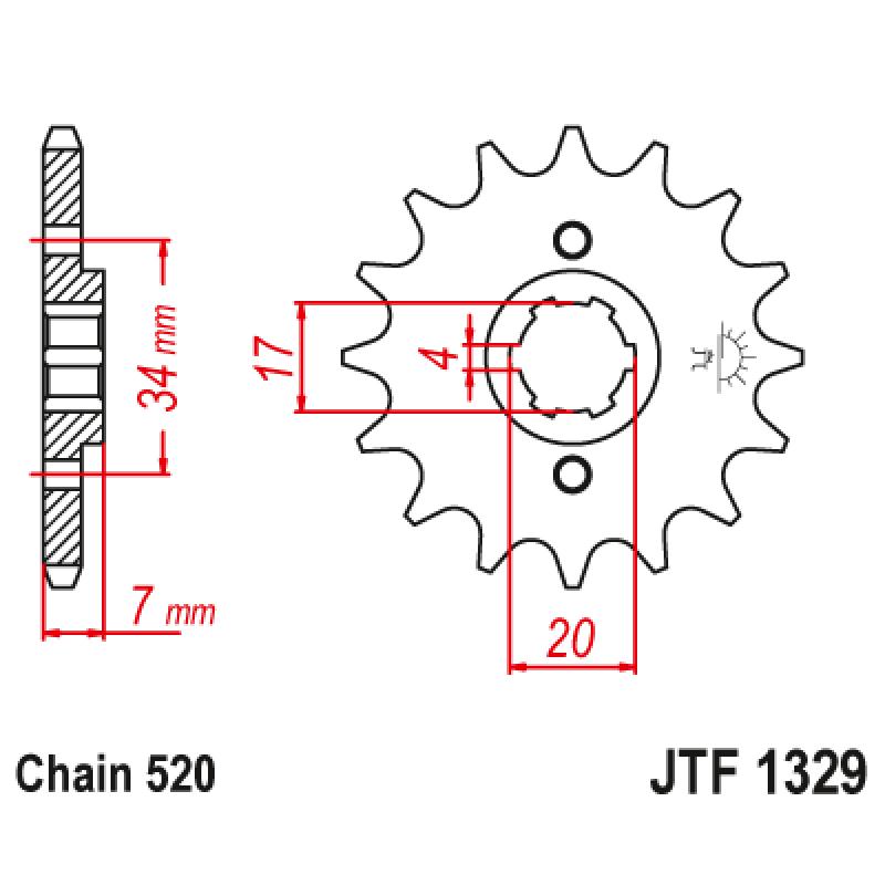 Предно зъбчато колело (пиньон) JTF1329,13