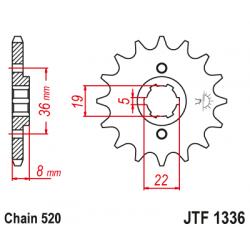 Предно зъбчато колело (пиньон) JTF1336,13