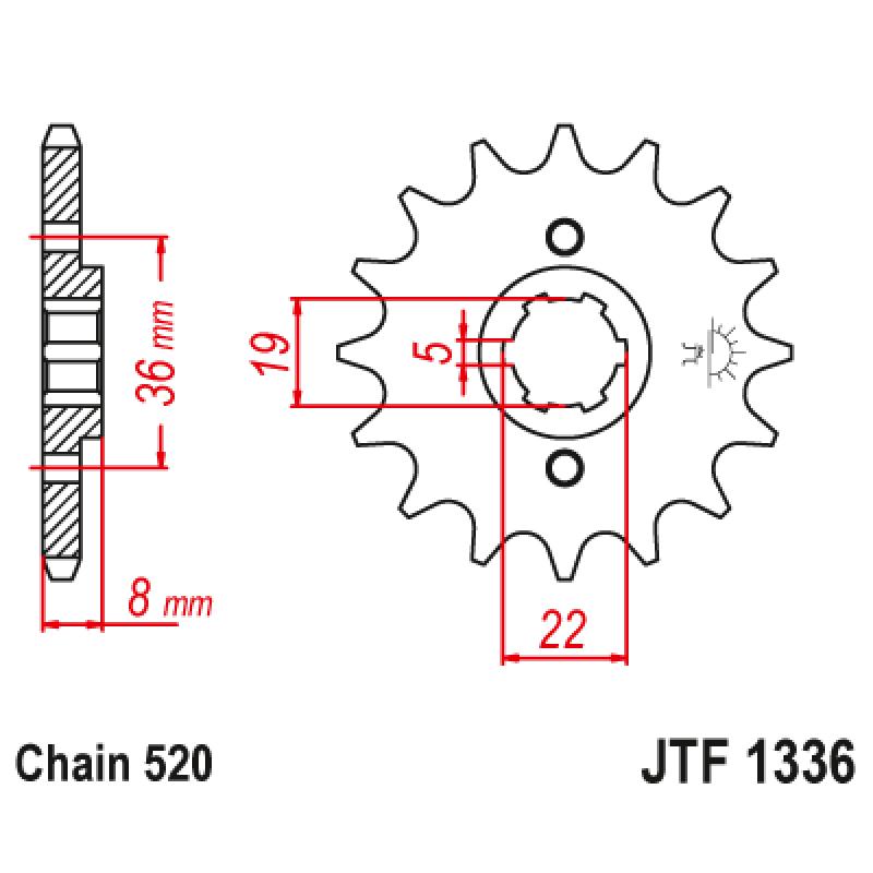 Предно зъбчато колело (пиньон) JTF1336,12