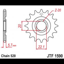 Предно зъбчато колело (пиньон) JTF1590,13