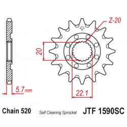 Самопочистващо се предно зъбчато колело (пиньон) JTF1590SC,13