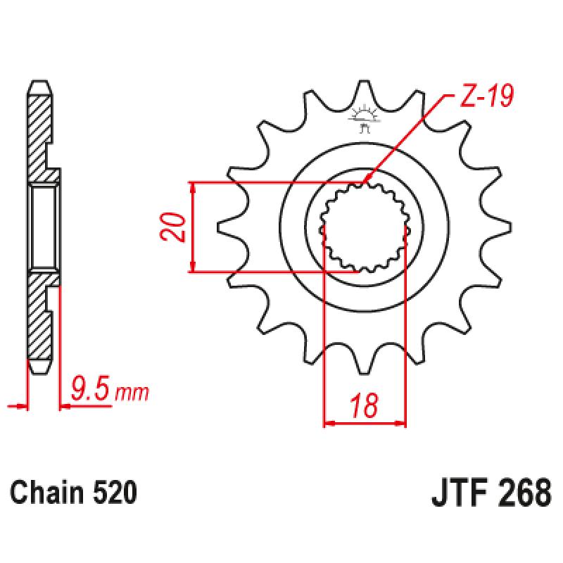 Предно зъбчато колело (пиньон) JTF268,13