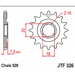 Предно зъбчато колело (пиньон) JTF326,12