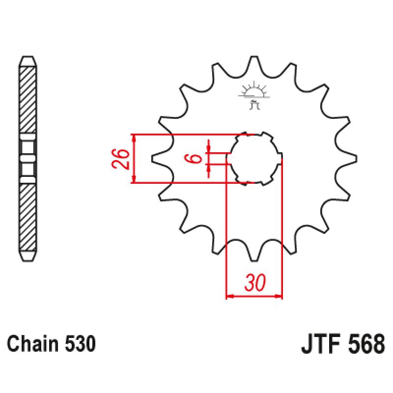 Предно зъбчато колело (пиньон) JTF568,15