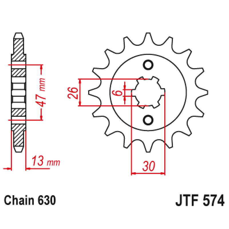 Предно зъбчато колело (пиньон) JTF574,16