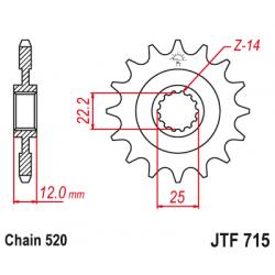 Предно зъбчато колело (пиньон) JTF715,12