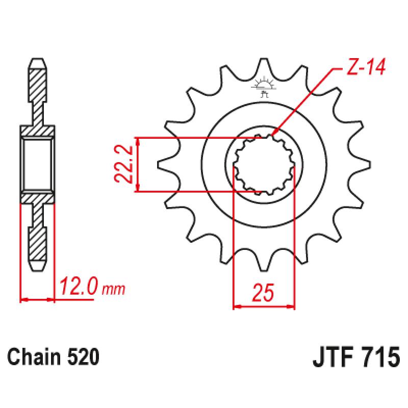 Предно зъбчато колело (пиньон) JTF715,13