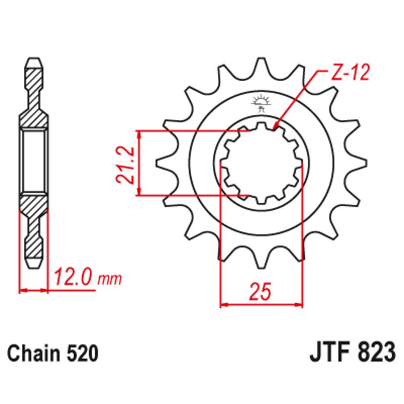 Предно зъбчато колело (пиньон) JTF823,14