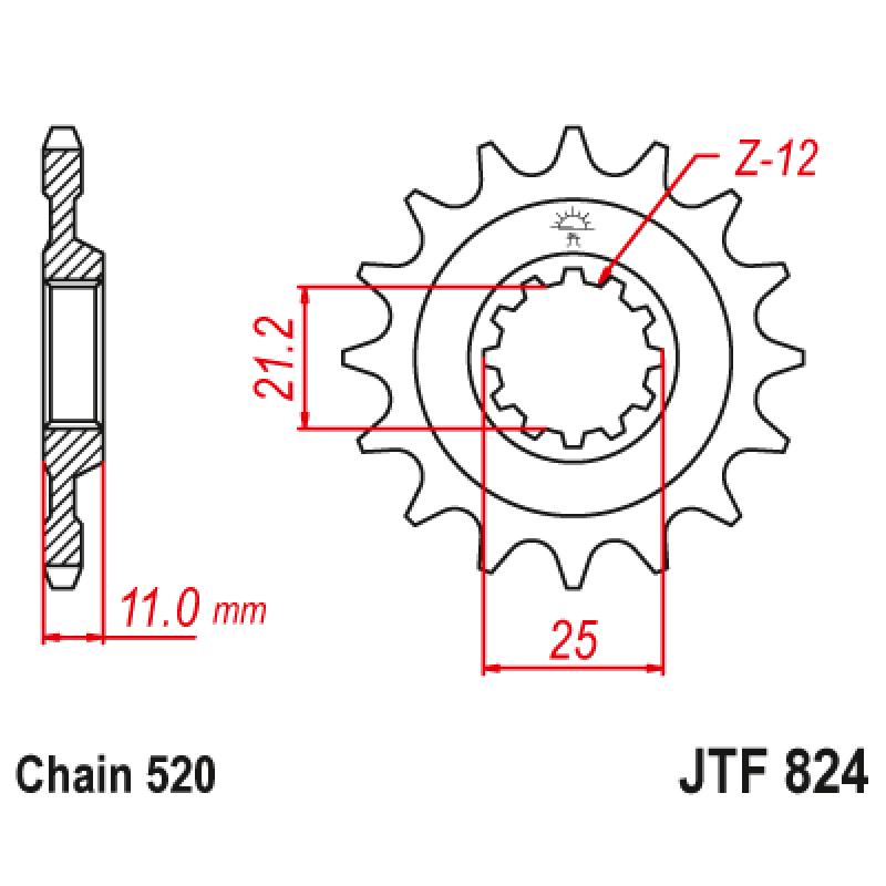 Предно зъбчато колело (пиньон) JTF824,16