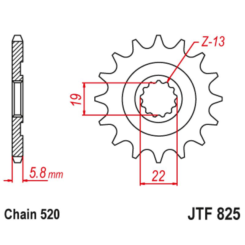 Предно зъбчато колело (пиньон) JTF825,13