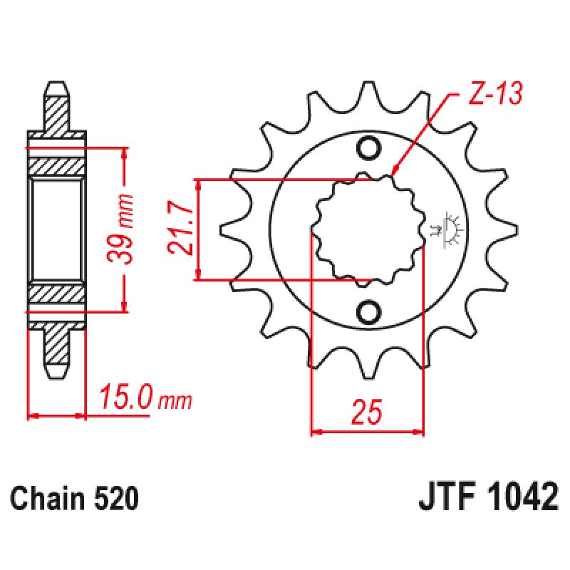 Предно зъбчато колело (пиньон) JTF1042,16