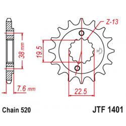 Предно зъбчато колело (пиньон) JTF1401,13