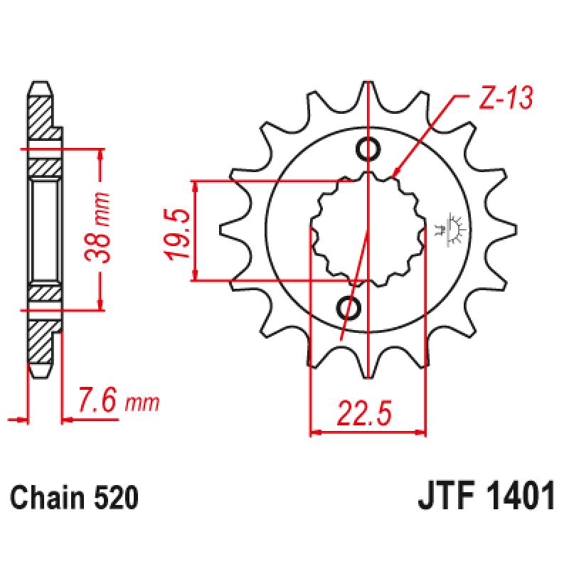 Предно зъбчато колело (пиньон) JTF1401,16