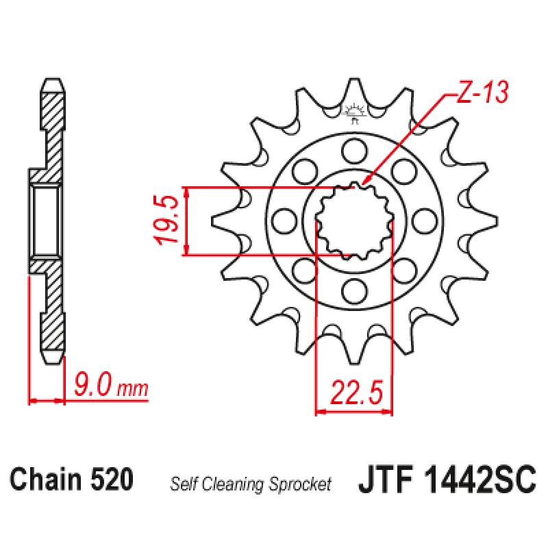 Предно зъбчато колело (пиньон) JTF1442SC,14