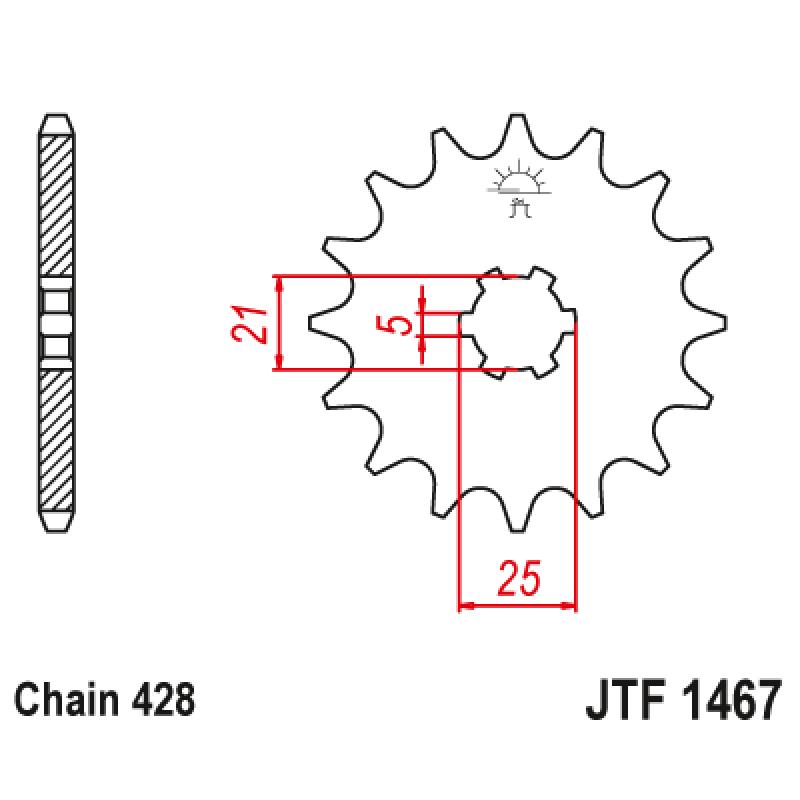 Предно зъбчато колело (пиньон) JTF1467,13